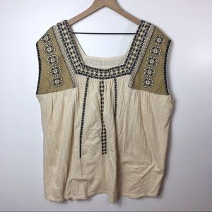 Lucky Brand Embroidered Oatmeal Tank Top 3X